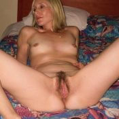 Horny MILF blonde exposing perfect hairy pussy