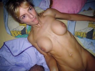 Over 40 MILF exposes her big tits as she disrobes in her bed. Blond haired French Milf first timer uncovers her big natural tits as she undresses