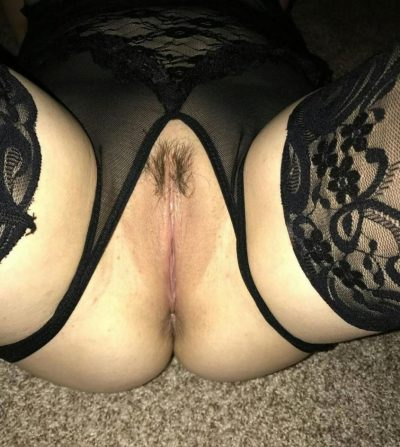 MILF in sheer black lingerie spreading legs & slightly hairy pussy. Mature wife sheds black lingerie before showing her pussy