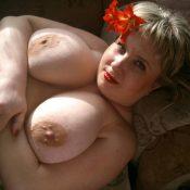 Russian BBW milf exposes nice tits