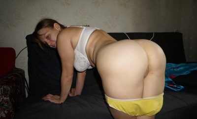 Russian Mom proudly shows her yummy ass on standing. Old lady pulls down her panties to shows her hot mature asshole