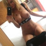Amateur Milf breast selfie seduces with a perfect body and a perfectly shaved pussy. Busty cougar removes her panties for totally naked self shots in mirror