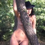 Italian amateur MILF unveils her natural tits before thrusting her naked hairy pussy forth. Beautiful brunette wife showing off her sexy body outdoor