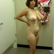 Brunette Mom takes nude selfie dressing room