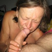 Horny granny sucking a big cock