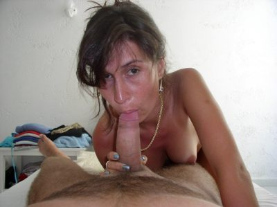 Very horny mom gives a hot homemade blowjob in bedroom. Amateur MILF blows a big cock until it explodes in her mouth