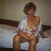 Russian wife with naked tits in morning
