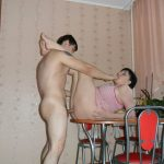 Chubby mature enjoys passionate homemade sex with a horny guy. Amateur hot wife gets fuck on the kitchen table