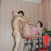 Chubby mature gets fuck on the table