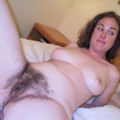 Amateur MILF showing her hairy pussy