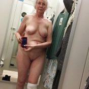 Naughty granny takes nude selfie
