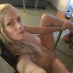 Naked mature blonde tempts with an appetizing body for selfshot. Young sexy mom completely naked takes an erotic selfie