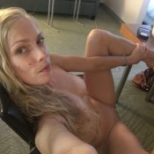 Naked mature blonde takes erotic selfie