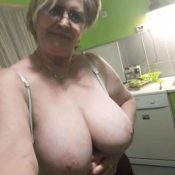 Granny without a bra takes a selfie