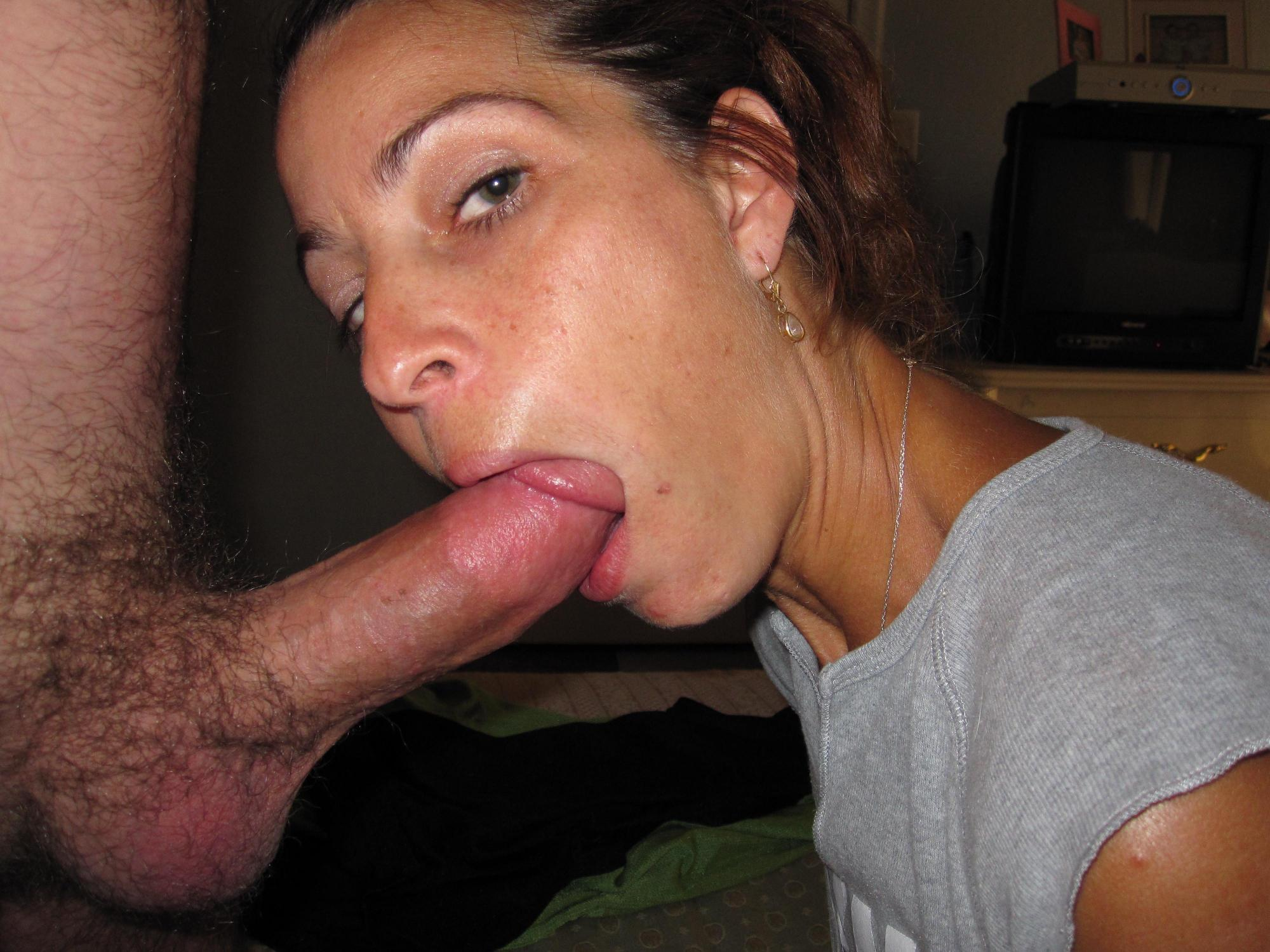 Everybody will like a dick blowjob by a horny MILF. Sucking cock in a private porn photo promises to be very nice