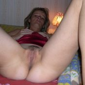 Skinny wife exposing her furry pussy
