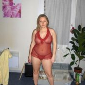 Mature amateur in see-through lingerie